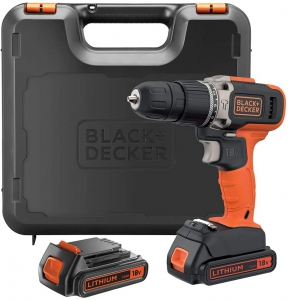 Black+Decker 18 V Combi Drill with Kitbox + 2 Batteries