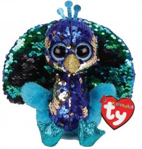 Ty Toys Beanie Boos Flippable Peacock Tyson Med 9in