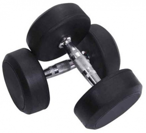 Deluxe Rubber Dumbbell Pair - 50 kg