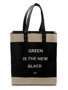 "Black Eco-Kees Tote ""GREEN IS THE NEW BLACK - Jute Handbag"
