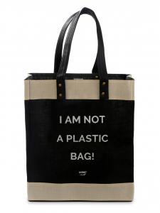Black Eco-Kees Tote I AM NOT A PLASTIC BAG- Jute Handbag