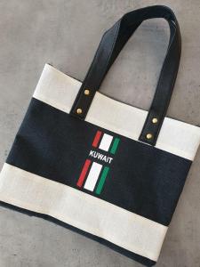 Black Eco-Kees Tote, Petite, KUWAIT- Jute Fiber Handbag