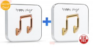 Happy Plugs Deluxe Wired Earbud Earphones with In Line Remote and Microphone 1+1 Offer