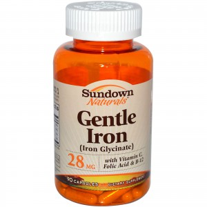 Sundown Naturals, Gentle Iron (Iron Glycinate) 28 mg 90 Capsules