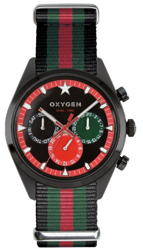 Oxygen Roma 40 Unisex Quartz Watch  Blak/Green/Red