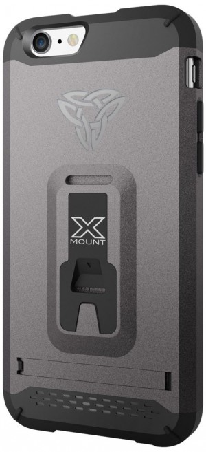 Armor X Rugged case for iPhone 6 integrated X-mount system.  Metal Spray & Kick-Stand