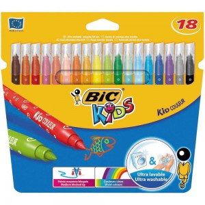 BiC Kids Couleur Felt Tip Pens with Medium Nib - Assorted Colours, Pack of 18