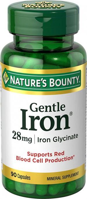 Nature's Bounty Gentle Iron 28 mg Iron Glycinate  90 Capsules