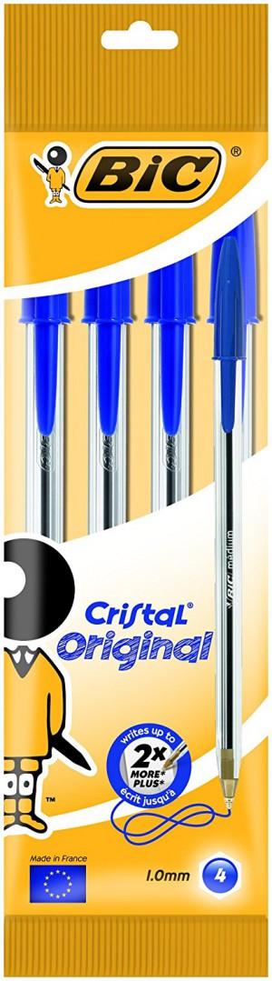 BiC Cristal Original 1.0 mm Ball Pen - Blue, Pack of 4