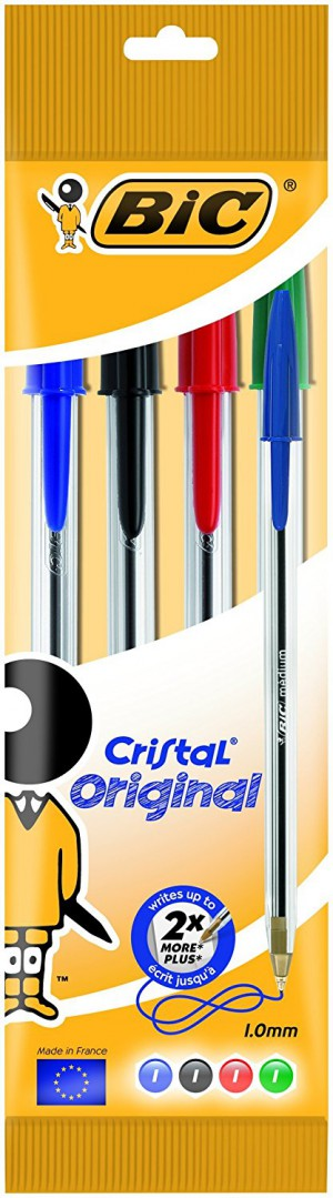 Bic Medium Cristal Ballpoint Pen - Assorted (Pack of 4)