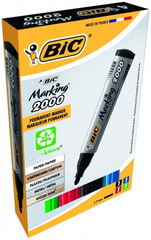 Bic Marking 2000 Permanent Marker Bullet Tip Line Width 1.7mm Assorted [Pack of 4]