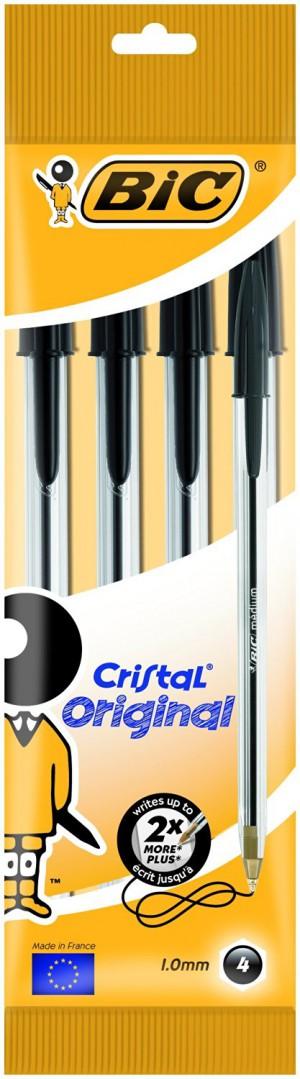 BiC Cristal Original 1.0 mm Ball Pen - Black, Pack of 4