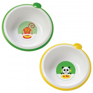 Dr. Brown's Feeding Bowls, Green/Yellow, 2 Count