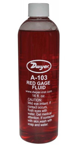 Dwyer A-103 Red Gauge Fluid (1 pt) with .826 sp.gr.