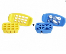 FunBites Yellow+Blue Sandwhich/Food Cutter Square+Triangle Shaped (FB-ST)