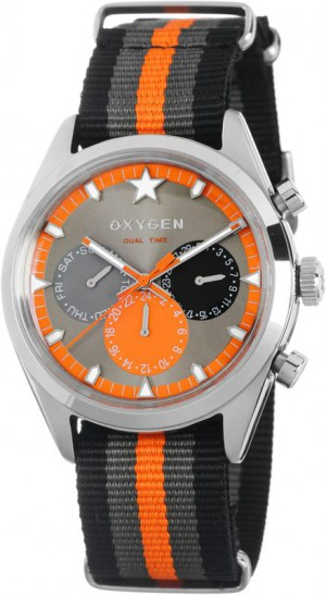 Oxygen Sport Dual Time Tanger watch Blk |Gry| Orange EX-SDT-TAN-40