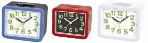 Rhythm - Value Added Bell Alarm Clocks - Red, White , Blue Case