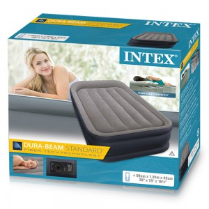 INTEX - TWIN DELUXE PILLOW REST RAISED AIRBED (w/220-240V Bulit-in Pump) - 64132