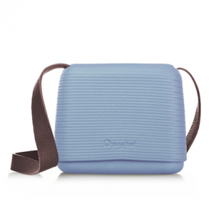 O Pocket In Azure Blue With Brown Faux Leather Strap  (OPB42-OPHF02)