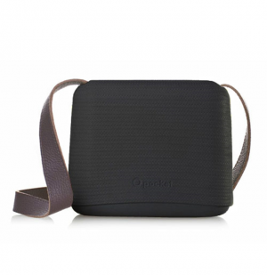 O Pocket In Black With Brown Faux Leather Strap  (OPB15-OPHF02)