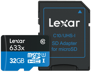 LEXAR 32GB  MICRO SDHC WITH READER (CL10)