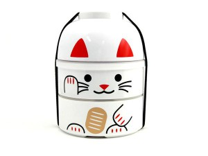 Hakoya Lucky Cat Lunchbox Large White
