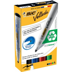 Bic Velleda Whiteboard Marker 15mm Assorted (PK4)