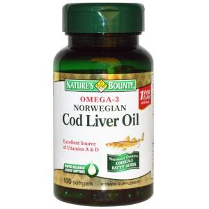 Nature's Bounty Omega-3 Norwegian Cod Liver Oil, 100 Softgels