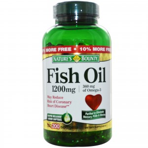 Nature's Bounty Fish Oil 1200 mg Odorless, 200 Coated Soft gels
