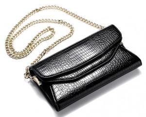 teemzone Buckle Clamshell Zipper Pull Chain Genuine Women Leather Handbag