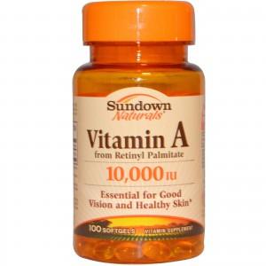 Sundown Naturals, Vitamin A, 10,000 IU, 100 Softgels