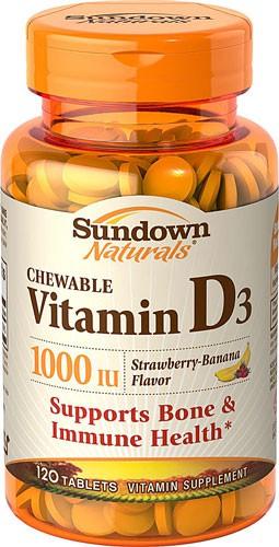 Sundown Naturals Chewable Vitamin D3 Strawberry Banana 1000 IU 120 Tablets