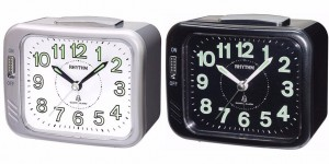 Rhythm - Value Added Bell Alarm Clocks - Metallic Black , Silver case
