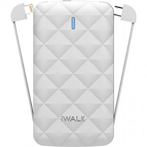 IWalk DUO 3000MAH Ultra-Slim-Battery Pack Buit-In-Lighting & Micro USB Cable White