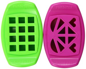 FunBites Pink+Green Sandwhich/Food Cutter Heart+Square Shaped (FB-HS)
