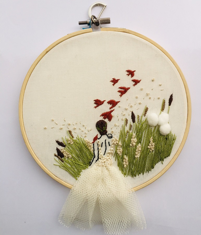 Embroidery Hoop Off White Cotton Fabric - Medium