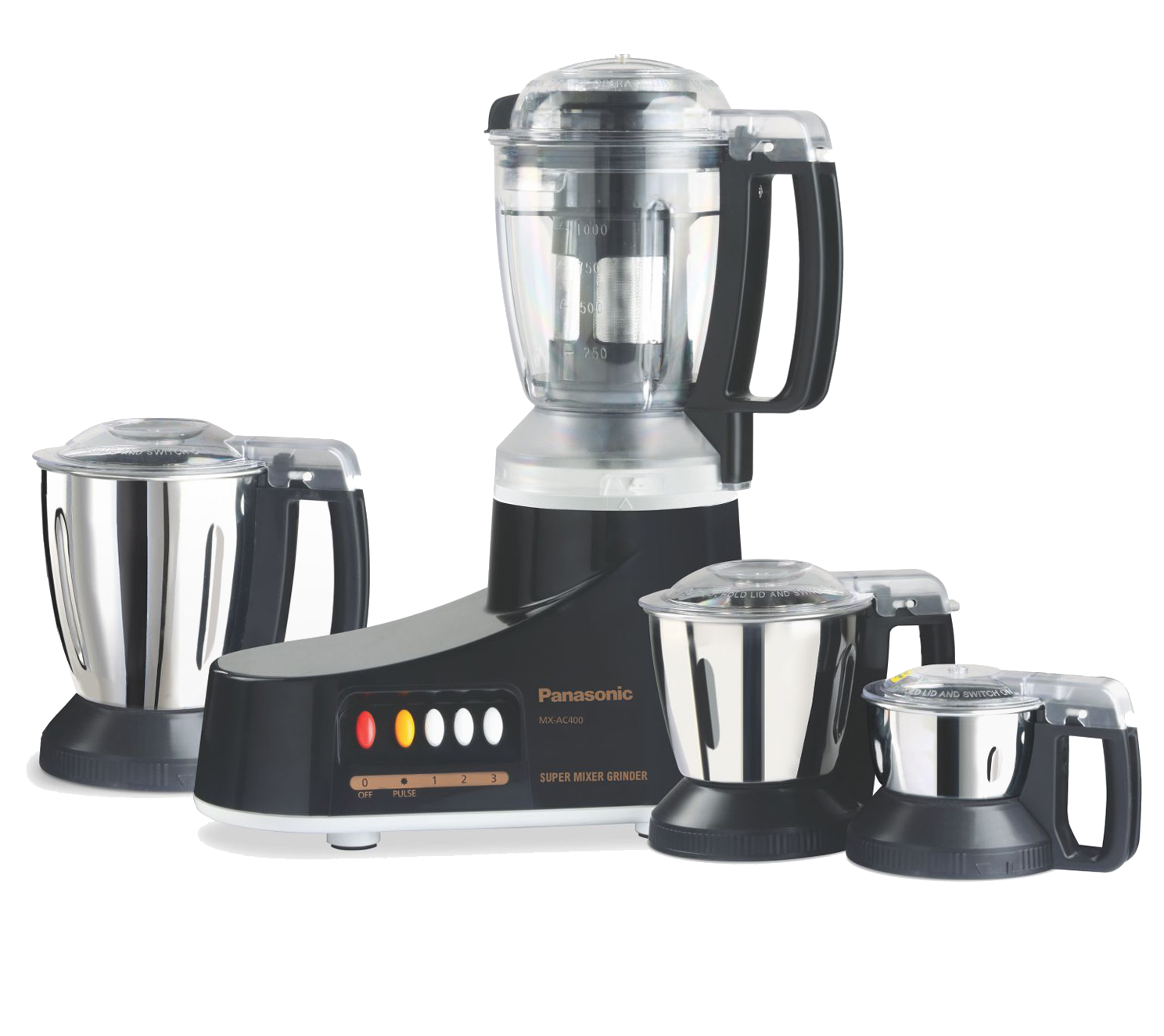 Panasonic Blender/Grinder/Mixer 1000W 4 Jars Black