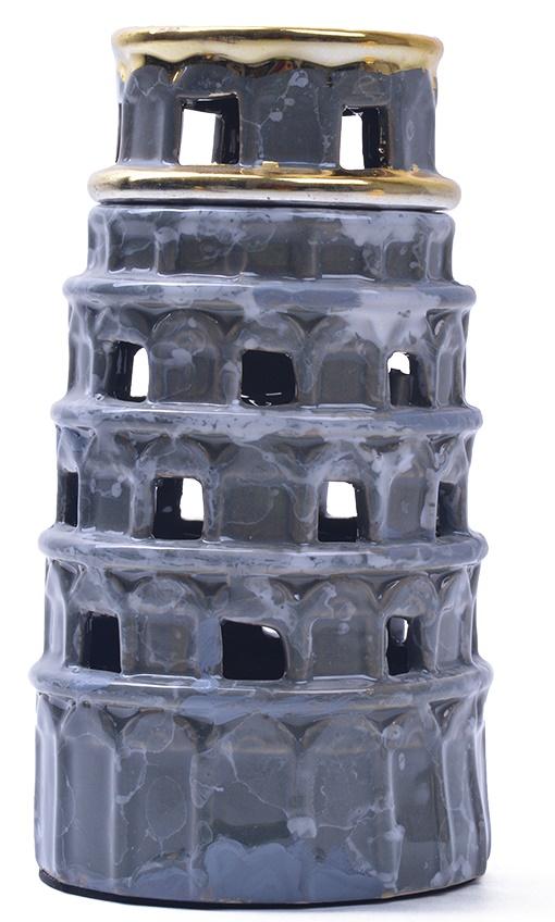Ceramic Leaning Tower Bakhoor Incense Burner Mubakhara - Grey