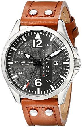 Stuhrling Original Men S 699 02 Aviator Quartz Day And Date Grey