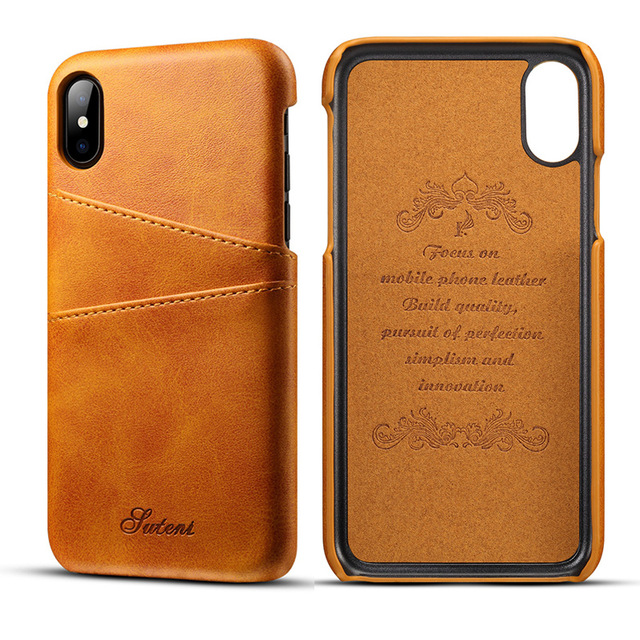 new concept d2f33 cd931 Card slot leather case for iPhone X - Black