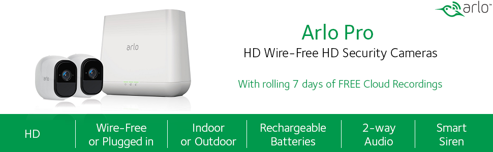 Netgear Arlo PRO Wire-Free HD Security Camera, 2 Way Audio