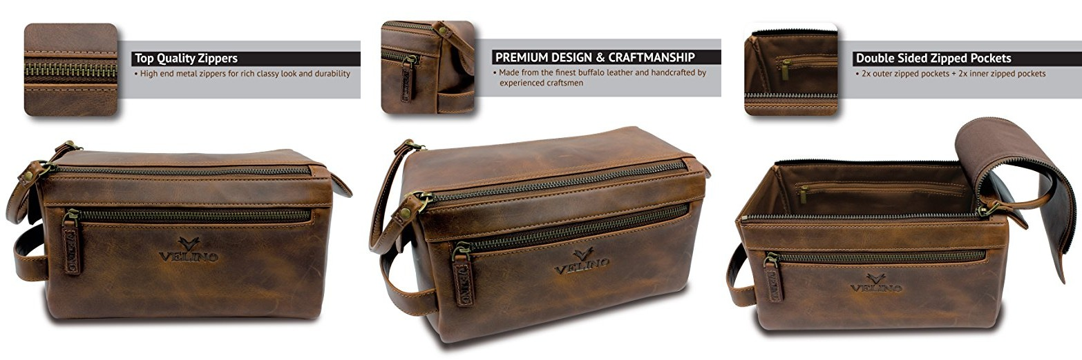 4f47d0d51284 Velino Handmade Genuine Buffalo Leather Unisex Toiletry Bag